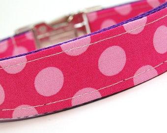 Handmade Dog Collar - Pink Sherbert Polka Dots - Custom Made Pink and Raspberry Polka Dot Dog Collar - Collar with Dots