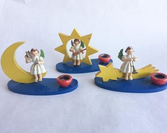 1950s Angel Band Candle Holders by Wendt Kuhn with Moon and Stars