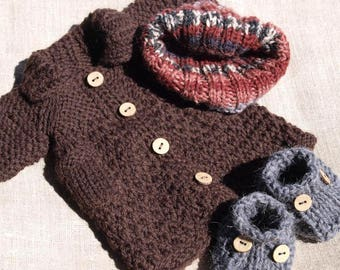 Waldorf Doll Clothes -Hand knitted autumn/winter outfit , fit 9 - 10 inch dolls