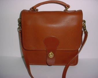 Reserved for  D  Vintage Coach Tan  Leather Station Cross body Messenger bag .