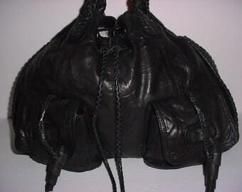 Sale  Rare Vintage Bottega Veneta  Black soft Woven leather Drawstring Duffel  Tote bag XL  .