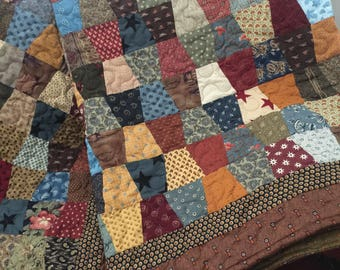 Quilt Civil War Traditional Trapezoid Quilt Twin Made to Order