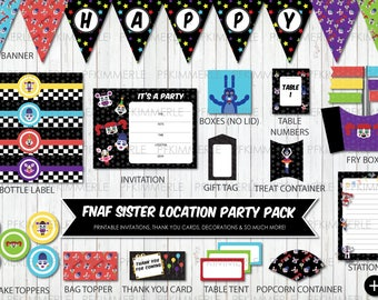 Five Nights at Freddy, Sister Location, Party Pack, Birthday Party Decorations, Circus Baby, Funtime Freddy, Foxy, Ballora, DIY, Star