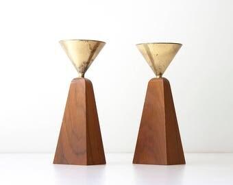Vintage Modern Brass Wood Candleholders