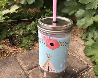 Teepees sleeve straw lid DIY mason jar tumbler