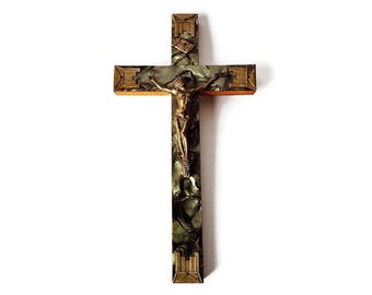 Vintage Crucifix from St. Joseph's Oratory, Faux Mother of Pearl Wood and Brass Wall Hanging Cross, Wood MOP Crucifix