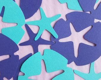 50 Sand Dollar & Starfish Die Cuts Confetti Punches.  Beach Theme Party, Party Favors, Beach Theme Party, Starfish, Mermaid.