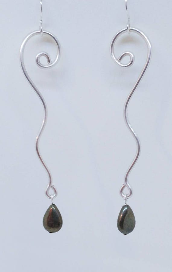 Pyrite Squiggle Sterling Silver Long Earrings