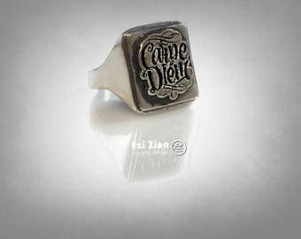 Carpe Diem Signet Ring Sterling Silver 925 By EZI Zino