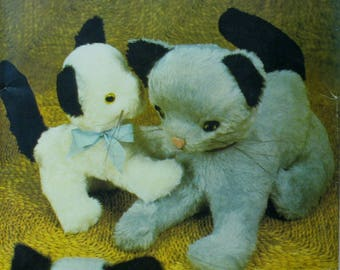 "Stuffed Kitten Pattern, Mother Cat, Kitten, Mouse, Plush Toy, Butterick No. 430 UNCUT Size Approx. 18"" 46cm"