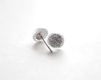 Silver Glitter Dot Earrings with Stainless Steel Posts