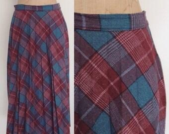1970's Plaid Accordion Pleat Skirt Blue & Purple Pleated Vintage Skirt Size Small Medium by Maeberry Vintage