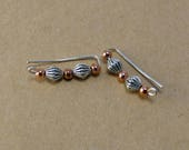 Silver and Copper Beaded Ear Climbers, Minimalist ear climbers