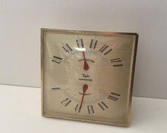 Sale Taylor Instruments Companies Humidiguide Temperature Humidity Gauge Made in USA Desktop Non Working Vintage Decoration