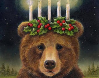 Bear Print, Bear Portrait, Bear Art, Christmas Bear, Saint Lucy, Grizzly Bear, Brown Bear