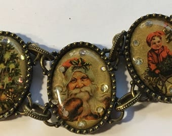 Vintage Avon Chunky Link Bracelet Victorian Christmas Picture Frame