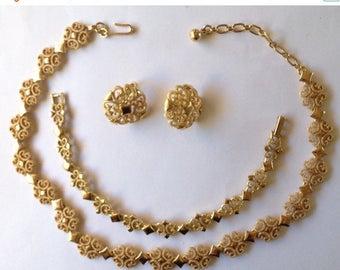 ON SALE Avon Demi Parure Necklace Bracelet Earrings Gold Tone Textured Shiny 1973
