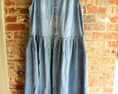 Farmhouse Chic Denim Dress/ Size16-18 Grungy, Washed, Faded Retro Denim/ Old Canton Clothing Co./ Shabbyfab Plus Size Thrifted Cool Clothes