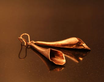 CO1028 - COPPER CALA LILY Earrings, Copper Earrings,  Hand-made Copper or Silver ear-wires.