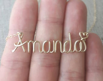 Handcrafted Wire Name Necklace, Teen Gift, Personalized Name Necklace, 14K Gold Fill, Personalized Gifts, Custom Name Jewelry, Teen Jewelry