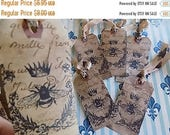 Cottage Chic  Inspired French Label Hang Tags - Honey Bee Crown Wreath - Tea Dyed - set of 6