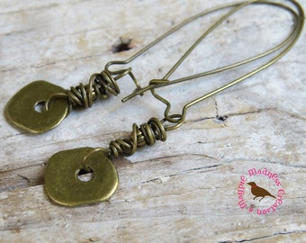 Boho Long Dangle Brass Disc Earrings, Steampunk Brass Wire and Disc Earrings, Rustic Bronze Dangle Earrings, by MagpieMadness for Etsy
