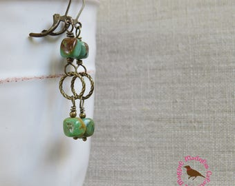 Boho Arizona Turquoise Earrings, Turquoise and Brass Dangle Earrings, Rustic Turquoise Earrings, Leverback, by MagpieMadness for Etsy