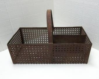 Vintage Punched Metal Basket