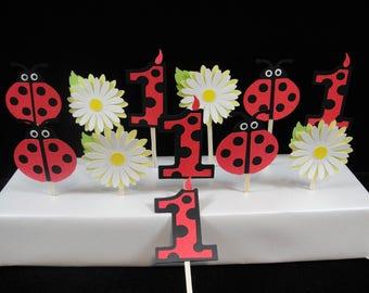 Lady Bug and Daisy Cupcake Toppers, Lady Bug Party, Baby Showers, First Birthday, Kids Parties, Lady Bug Cupcakes, Baby Showers