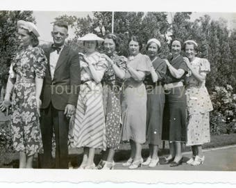 Vintage Photo, Women with Man all in A Row, Black & White Photo, Old Photo, Snapshot, Deckled Edge