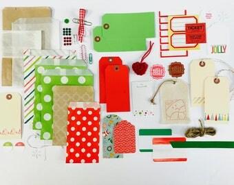 Christmas Embellishment Kit, Holly Jolly Christmas, Shipping Tags, Gift Bags, Santa, Gift Packaging, Scrapbooking, Art Journaling, Planner