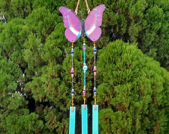 butterfly chime purple pink resurrection hope butterfly lover butterfly gift change sympathy memorial gift stained glass brockus creations