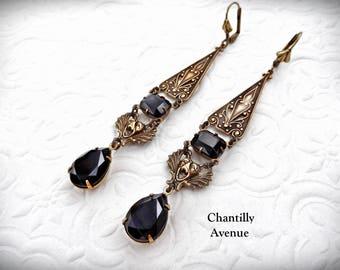 Ornate Gothic Earrings, Renaissance Earrings, Jet Jewel Earrings, Drop Earrings, Black Victorian Earrings, Gothic Jewelry