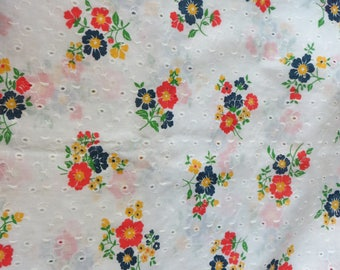 """Bright Floral Eyelet Fabric Red Blue and Yellow Printed Flowers on White Eyelet Fabric Cotton One Yard 44"""" Wide Summer Fabric White Eyelet"""