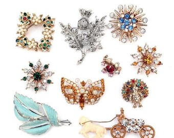 20% OFF SALE - Lot of Ten Vintage Brooches - Rhinestones, Marcasites, Plastic, Enamel, Faux Pearls, Gold-Tone and Silver-Tone Metal