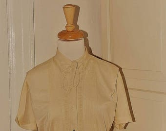 "ON SALE 50s 60s Off White Nylon Blouse, Rhinestone Buttons, Necktie, Front Pleats, Cream, Tan, Beige, Size M/L, 40"" Bust"