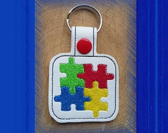 Puzzle Pieces Autism Awareness Key Fob, Key Chain, Luggage Tag, Bag Clip, Vinyl, Key Ring, Purse Charm