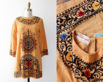 60s Mini Dress S • Embroidered Dress • Indian Dress • Bell Sleeve Dress • Vintage Mini Dress • Ethnic Dress • 60s Dress •  | D1375