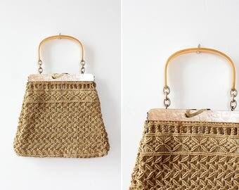 Raffia Handbag • 60s Purse • Crochet Bag • Summer Purse • Macrame Purse • Boho Shoulder Bag • Raffia Purse • Crochet Bag | B924