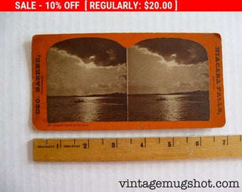 Vintage  Stereoscopic Stereoview Stereo Card Photos Niagara Falls Sunset On the River George Barker