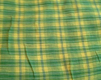 Green and Yellow Plaid Gauzy Lightweight Cotton Fabric 4 Yards X0998