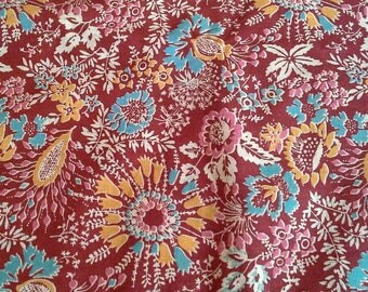 Blue and Orange Floral Print on Dark Red Vintage Cotton Fabric 1 1/4 Yards X1168