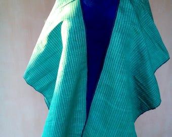 Uzbek vintage green silk fabric Bekhasam 4,15 meters. VI040