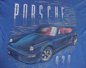 Vintage 80's PORSCHE Racing 930 SSI party new wave punk rock T Shirt Adult size L