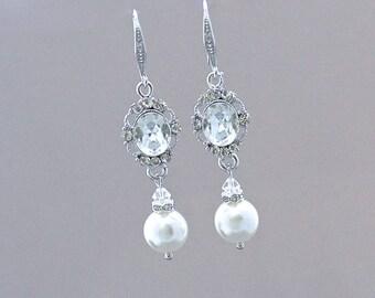 Crystal Bridal Earrings, Pearl Wedding Earrings, Pearl Drop Earrings, Wedding Jewelry, Bridesmaid Earrings, AISHA 3