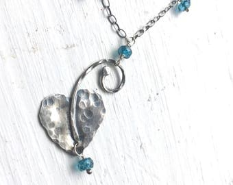 Sterling Silver Leaf Necklace London Blue Topaz Necklace A Midsummer Night's Dream Moth