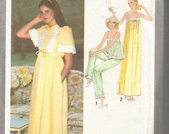 Vintage Simplicity 8766  Nightgown, Pajamas and Robe Pattern SZ 6-8