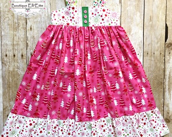 Ready to Ship Size 6 Girls Reverse Knot Dress In the Pink Christmas Trees
