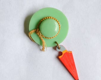 1940s Celluloid pastel green & red hat umbrella brooch / 30s 40s dangle charm pin