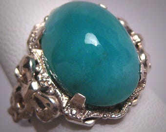 Antique Victorian Blue Green Agate Ring Silver Bow Art Deco 1900